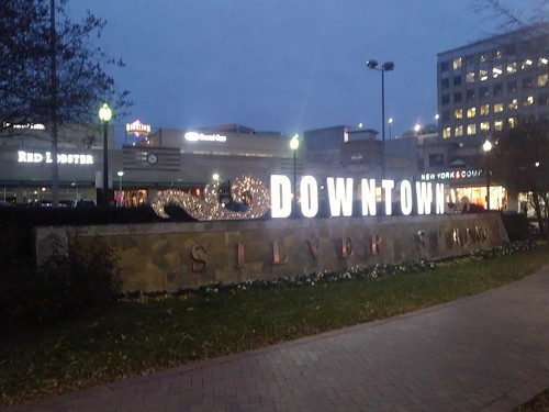Downtown Silver Spring gateway sign lit up at night