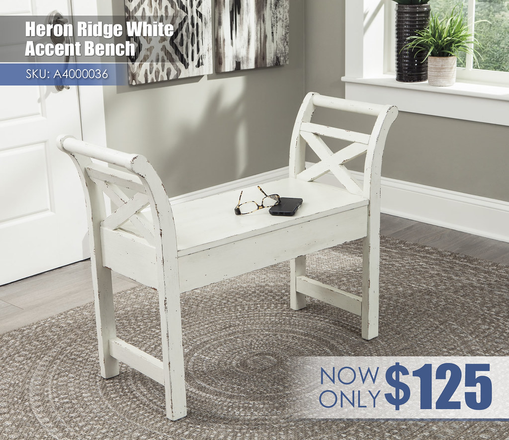 A4000036 - Heron Ridge White Accent Bench $125