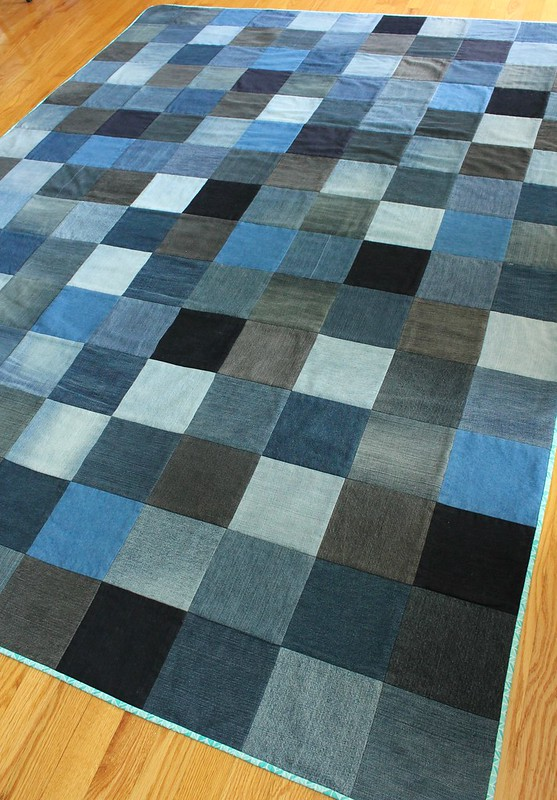 Twin Size Upcyled Denim Quilt