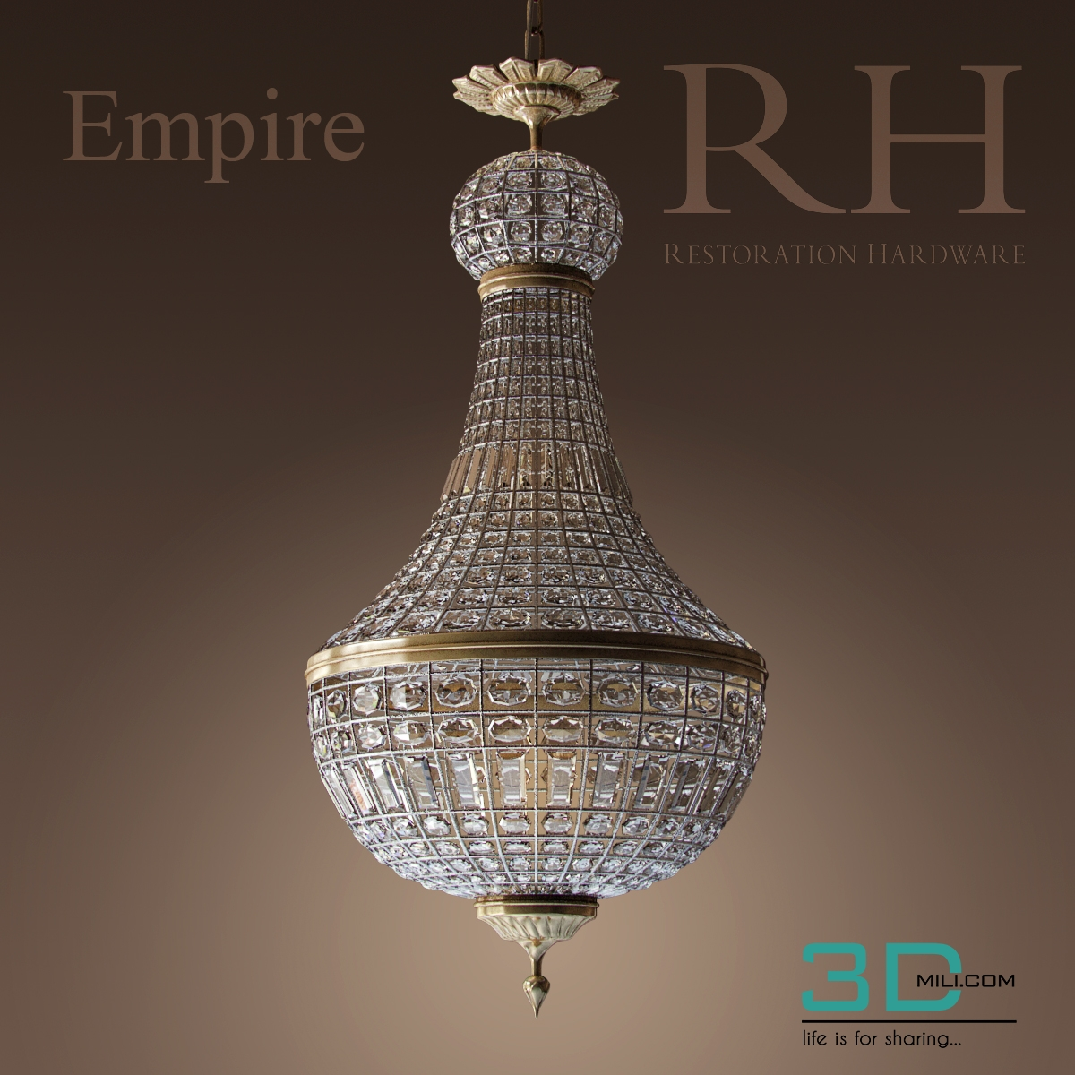 142. Crystal Chandelier - 3D Mili - Download 3D Model - Free 3D ...