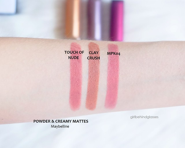 Maybelline Matte Lipsticks Touch of Nude, Clay Crush, MPK04 swatches