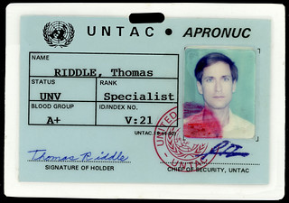 Tom Riddle's ID card -- the 21st UNV or United Nations Volunteer to arrive in Cambodia.