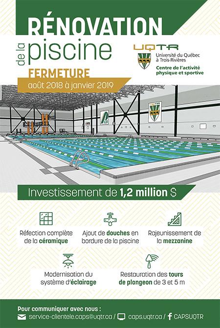 Cure de jeunesse pour la seule piscine de dimension olympique de la r gion en t te uqtr - Dimension d une piscine olympique ...