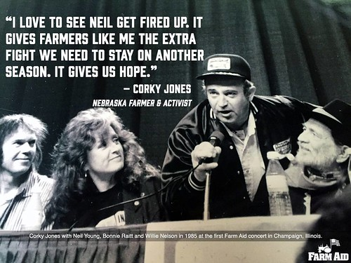 We love seeing @neilyoung get fired up too! Thanks to Corky Jones, a Nebraska farmer and activist for providing today's #WednesdayWisdom. We've been proud to work with Corky since the very beginning of Farm Aid, and @willienelsonofficial has labeled him a