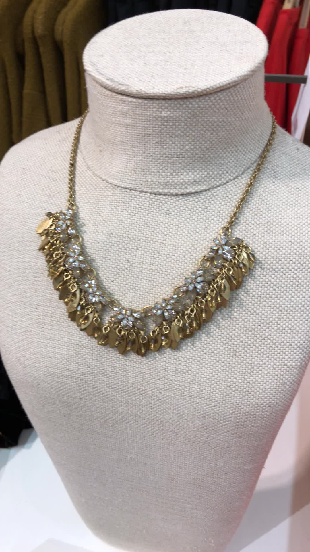 LOFT Crystal Floral Leaf Statement Necklace