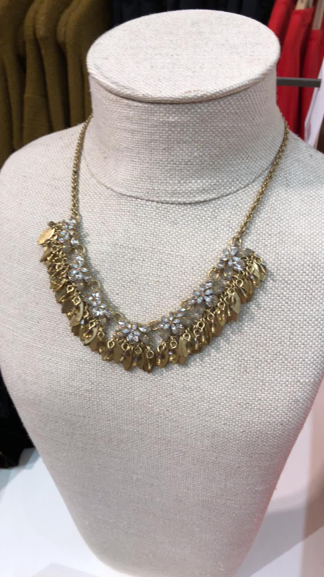 LOFT Crystal Floral Leaf Statement Necklace