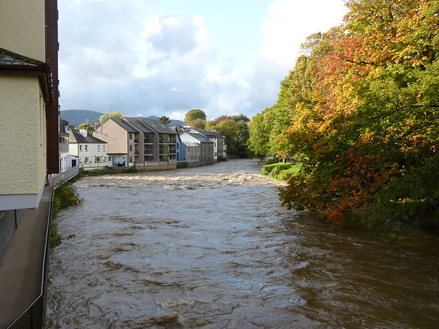 Keswick - River Greta in flood [at Station Road] 171011