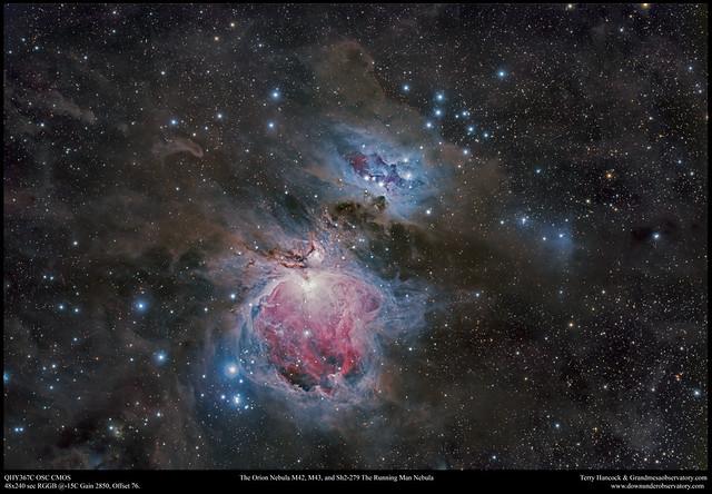 The Orion Nebula M42, M43, and Sh2-279 The Running Man Nebula