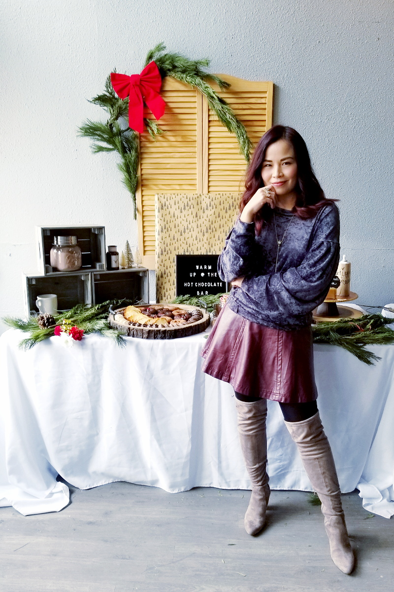 holidays-hot-cocoa-bar-velvet-leather-skirt-outfit