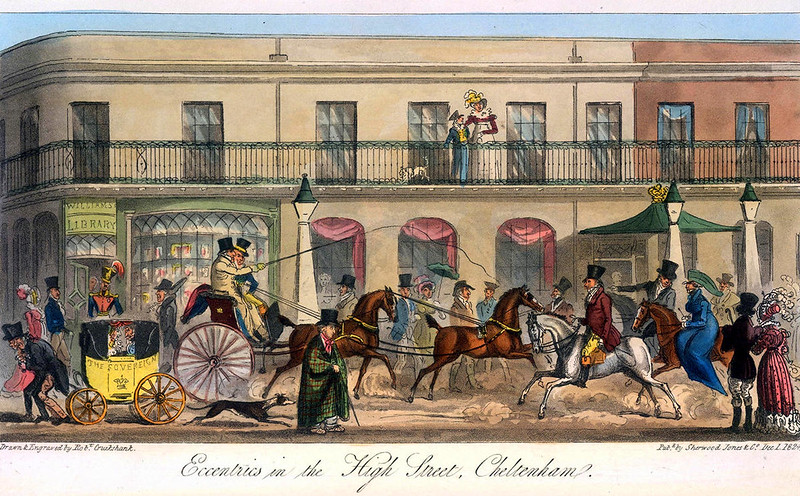 Cheltenham High Street 1825 by Isaac Cruikshank