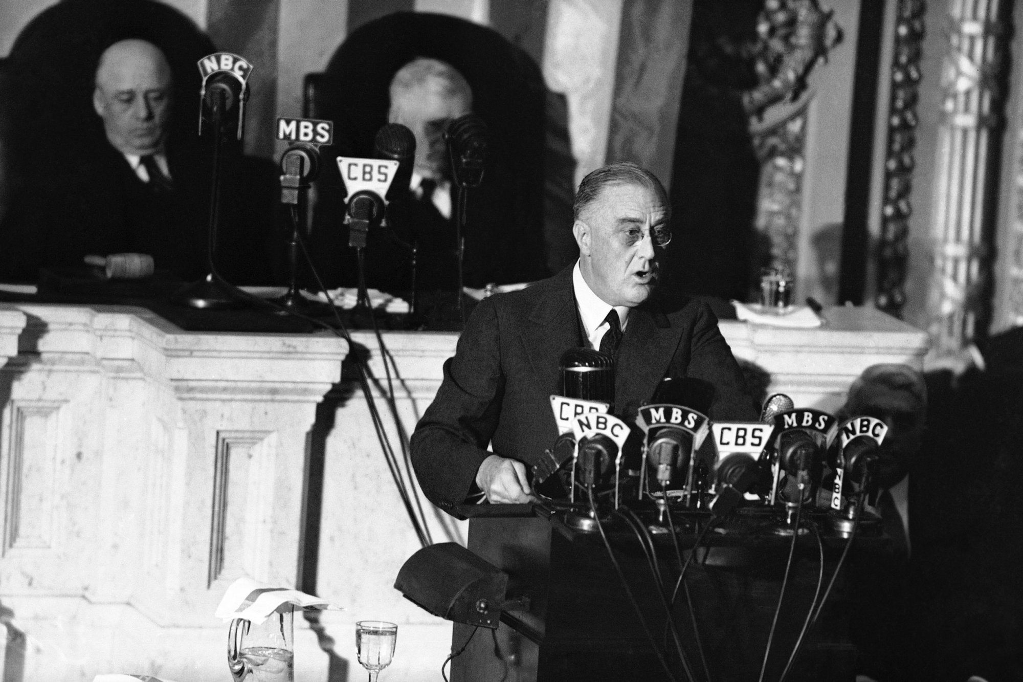 President Franklin Delano Roosevelt delivers his State of the Union address on January 6, 1941, including his famous Four Freedoms speech.