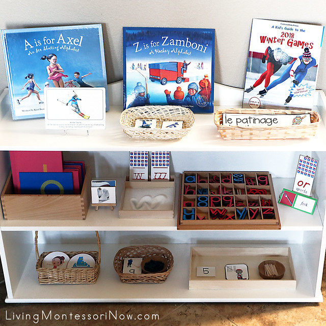 Montessori Shelves with Winter Sports Themed Activities