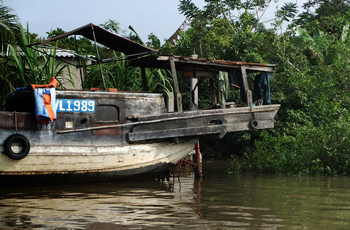 Cruising the Mekong River, passing an interesting variety of boats, big and small