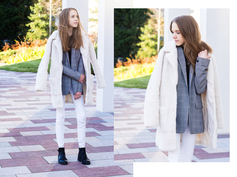 check-blazer-teddy-coat-outfit