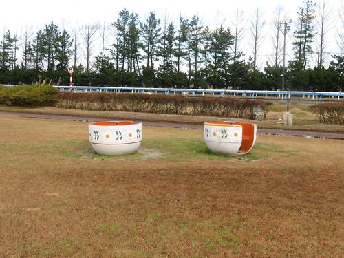金沢競馬場のコーヒーカップの遊具