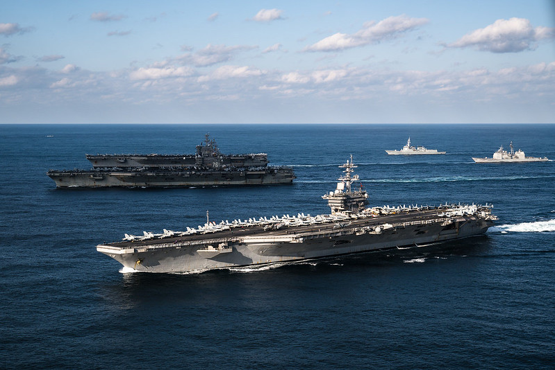 Three-carrier strike force exercise in the Western Pacific