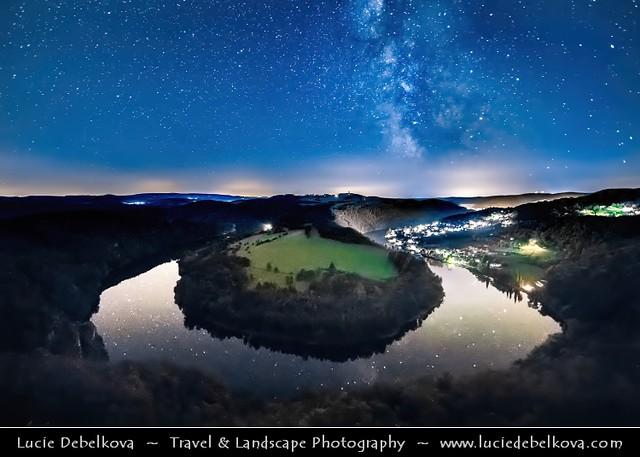 Czech Republic - Meandr Vltavy u Solenic under Night Sky with Milky Way