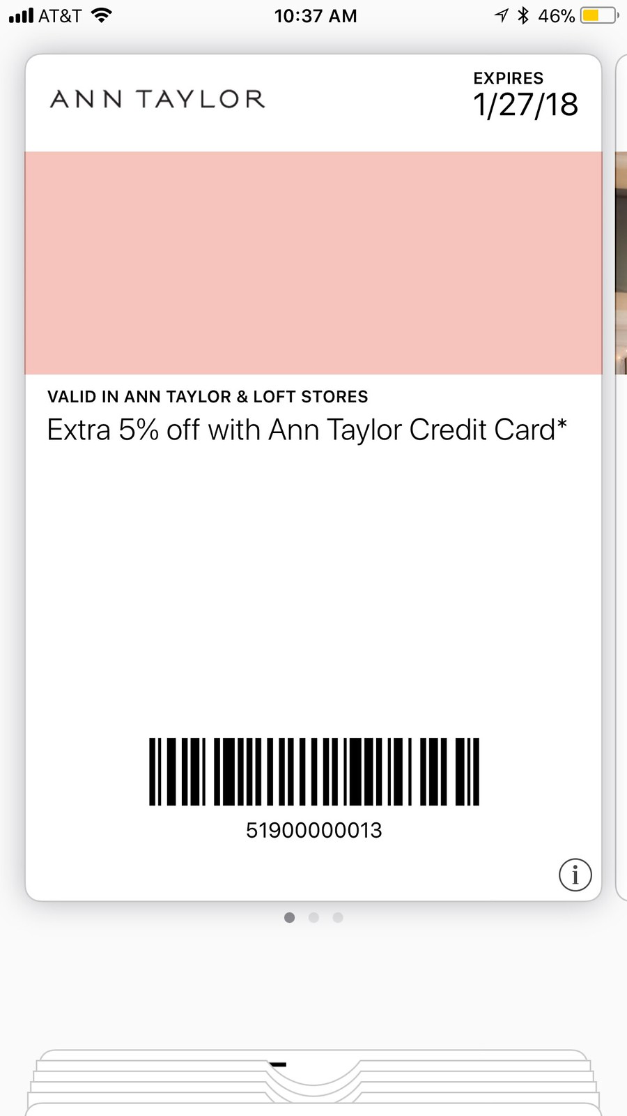 Extra 5% off Coupon valid in-stores only at Ann Taylor & LOFT