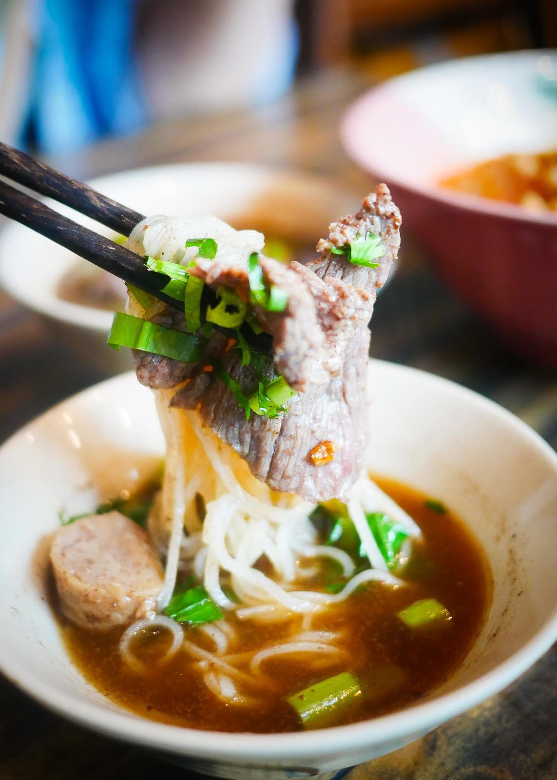 Beef noodles focus