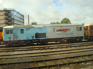 Class 73 in LORAM refurbishment advertising livery