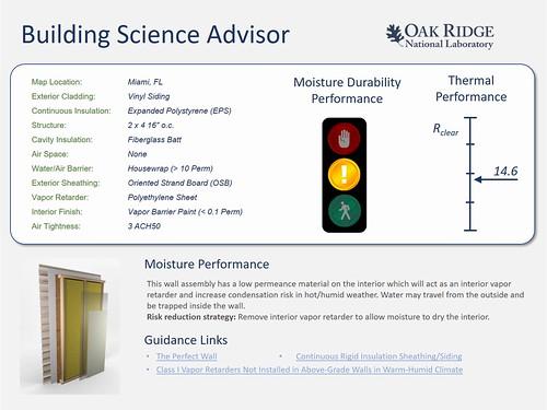Building Science Advisor Output Screen