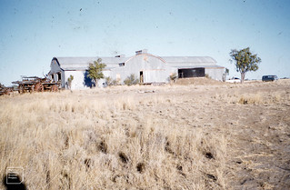 Woolshed and old wagons at Banks Station, Queensland. 20/11/1961