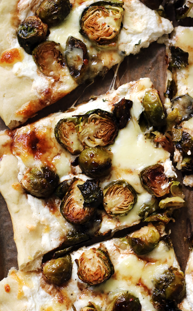 Crispy Brussels Sprouts And Ricotta Pizza With Balsamic Glaze Joanne Eats Well With Others