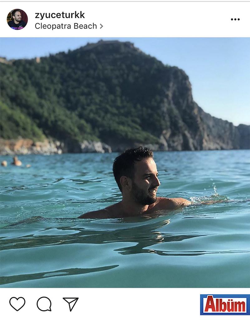 Zekeriya Yücetürk, Kleopatra Beach'te Kasım ayına inat deniz keyfi yaptı.