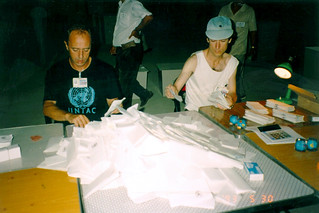Counting ballots in Phnom Penh after the election - Tom Riddle is on the right.