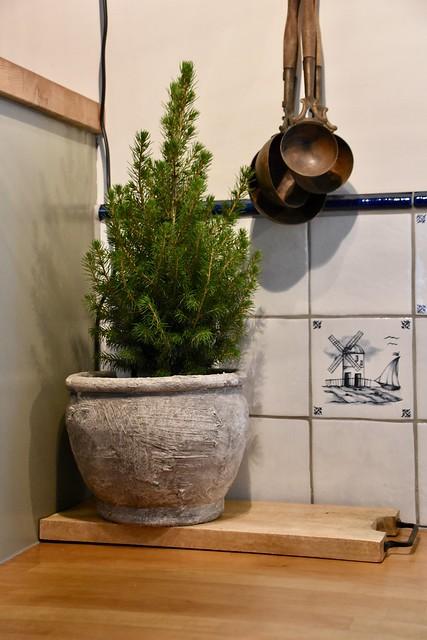 Kerstboompje op aanrecht