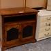 Solid dark wood door tv unit E100
