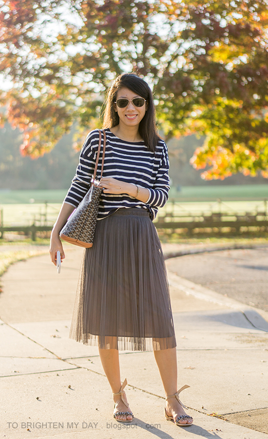 navy and white striped top, gray midi tulle skirt, gold jewelry, monogrammed tote, suede ankle tie flats with jewels