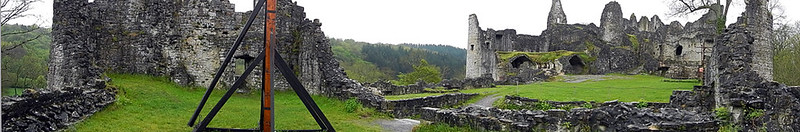 Panorama of the most picturesque ruins in Belgium, the Ruines de Montaigle
