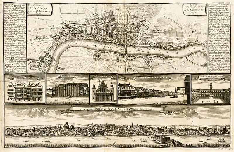 Thomas Bowles - A Plan of London as in Q. Elizabeths Days (1723)