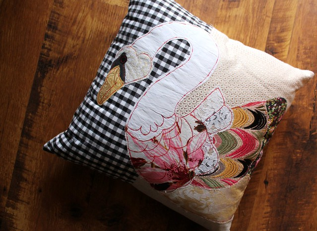 Swan Patchwork Pillow by Carola Van Dyke