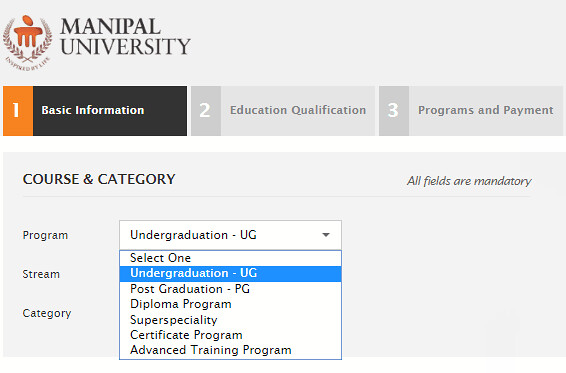 Manipal Application Form
