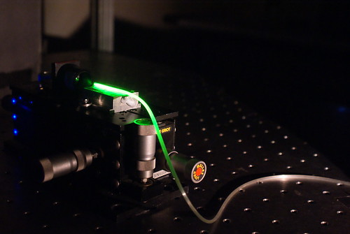 Laser light in an optical fibre - Photo Credit CUDOS