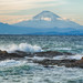 In the strong wind, Fuji over the ocean