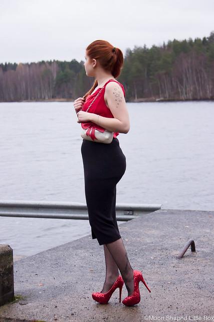 päivän asu muotibloggaaja kaunis naisellinen tyyli