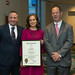 State Representative Craig Fishbein presented a legislative citation honoring Wallingford first grade teacher Erin Berthold as the 2018 Connecticut Teacher of the Year.  At left is Dr. Salvatore Menzo, Wallingford Superintendent of Schools.