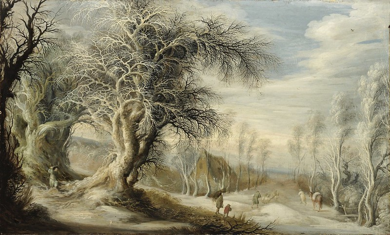 Gijsbrecht Leytens - A winter landscape with a woodsman and travellers