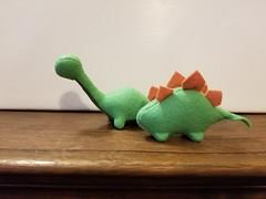 Felt Dinosaurs set #6 - Greens/Pink