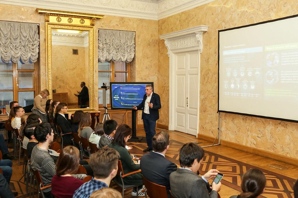 Сергей Горьков, председатель Внешэкономбанка впервые выступил в Высшей школе менеджмента СПбГУ