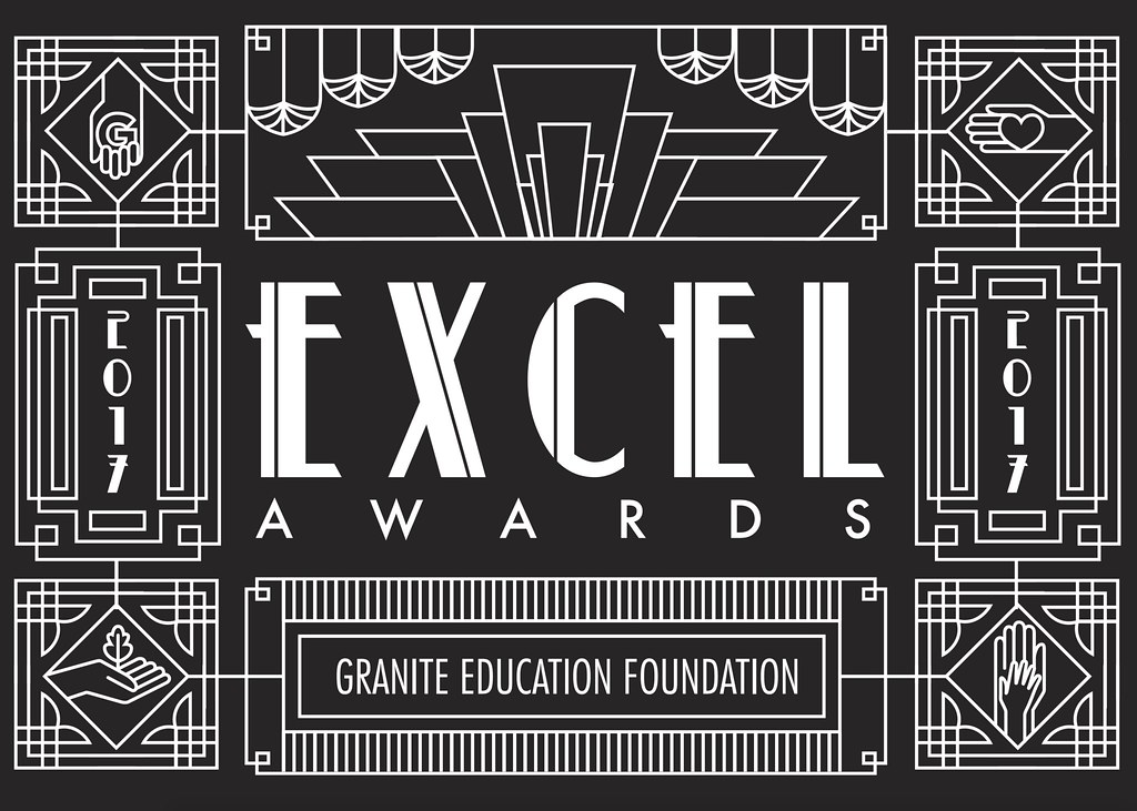 Art deco graphic with text 'Excel Awards | Granite Education Foundation | 2017'