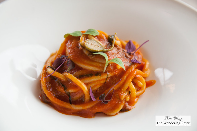 Pici in tomato sauce, Calitteir olives, pregano and capers