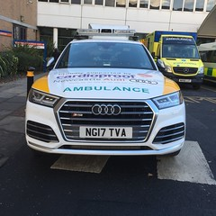 Currently being operated by North East Ambulance Service NG17TVA Audi SQ5 Quattro 4x4 SUV. It's role is as a double crewed Critical Care and Cardiac Arrest Unit. Seen at Royal Victoria Infirmary, Newcastle 17/11/2017