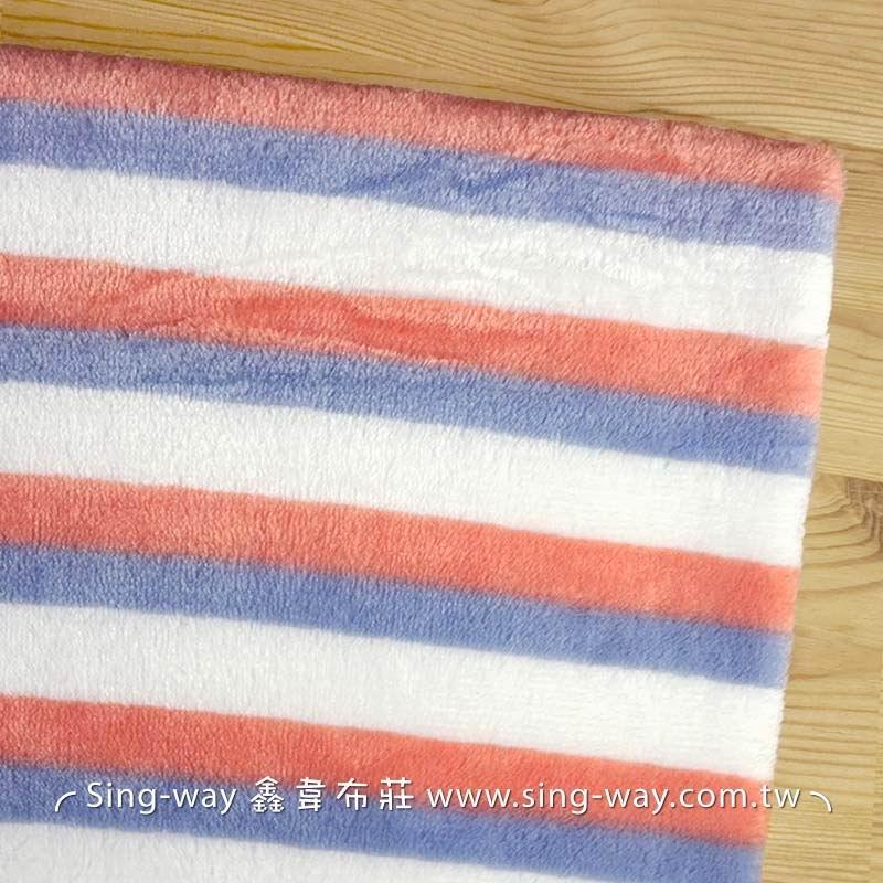 【限宅配】 藍膚白條紋法蘭絨  寢具 衣物 嬰兒毛毯肚圍背心 冷氣毯 睡衣睡袍 玩偶 LC1590007