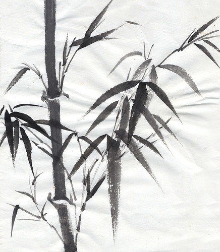 Black & white Chinese ink painting of bamboo
