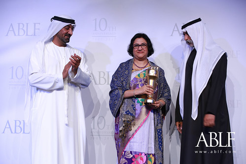 Arundhati Bhattacharya, Former Chairperson, State Bank of India, receiving the ABLF Outstanding Business Economist Award from H.H. Sheikh Nahayan Mabarak Al Nahayan, Cabinet Member and Minister of Tolerance, UAE
