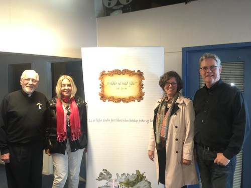 Fr. Nicholas, Vassula, Dr. Mari, and Hafsteinn at Lindin Christian Radio station Reykjavík